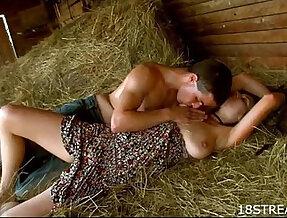 Couple fuck hard on hayloft