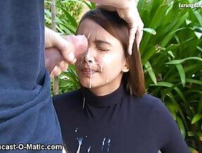 Nina Suckretary Facial cumshot on her face sperm