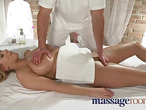 Massage Rooms Two young girls get a big cock deep in their holes
