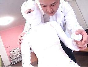 Subtitled cfnm Japanese woman bandaged head to toe