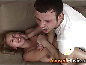 Big Breasted Brunette woman Getting Couch Abused Unwillingly