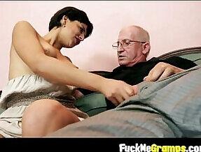 Teen giving old man hard penis