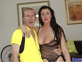 British mature in pov boots gets a mouthful