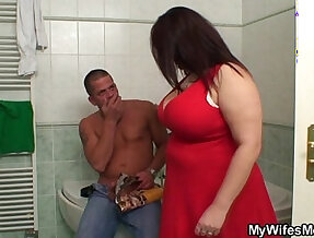 Her huge jugs bounces when she rides big black cock