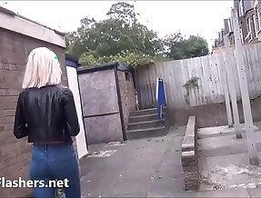 Blonde amateur blonde milf Atlantas public flashing and outdoor exhibitionism of daring voyeur