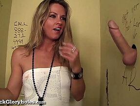 Hot Slut Blows Stranger In Public Bathroom!