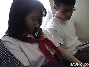 Japanese teen school uniform has threesome Uncensored