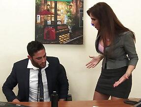 Sexy milf boss Syren De Mer exploits employee for dick hd