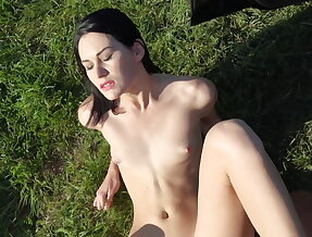 Tall hitchhiker\'s juicy pussy